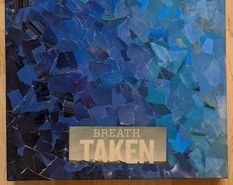 "Breath Taken- Blue Collage Artwork- Torn Texture - Handmade - 14"" x 18"" Original Mixed Media"