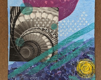 """Pacifica- Original Mixed Media Artwork- 12"""" x 12"""" Curated Collage"""