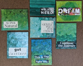 """Green Tiny Collaged Mixed Media - 4"""" x 5"""" - upcycled paper inspiration art - small space masterpieces"""