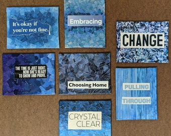 """Blue Collaged Tiny Canvas- Inspirational Mixed Media Mini's-  4"""" x 5"""" - upcycled paper meditation art - vanlife small space masterpieces"""