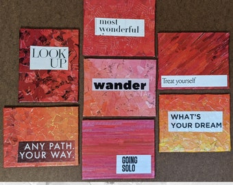 """Red & Orange Mixed Media Mini's- collaged tiny canvas- 4"""" x 5""""- upcycled inspirational art- work from home/office masterpieces"""