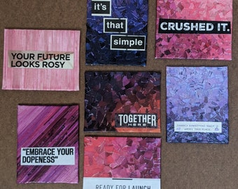 """Pink and Purple Inspirational Mixed Media -  tiny collaged canvas- 4"""" x 5""""- upcycled layered paper art on canvas board - mini masterpieces"""