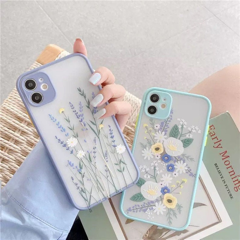 iPhone Case Transparent Blue Flower Floral Phone Case with Full coverage protection Cute Flower Phone Case Cover Luxury Color Thick Border