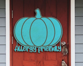 Teal Pumpkin Project Allergy Friendly Halloween Non-Food Treats Wood Sign Door Hanger