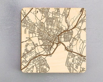 New Haven, Connecticut Street Map Coasters | Engraved Wood Coasters | New Haven, CT Coasters Gift Set | Housewarming Gift