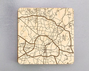 Raleigh, North Carolina Street Map Coasters   Engraved Wood Coasters   Raleigh, NC Coasters Gift Set   Housewarming Gift