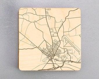 Rome, New York Street Map Coasters | Engraved Wood Coasters | Rome, NY Coasters Gift Set | Housewarming Gift