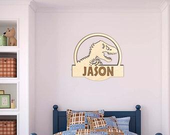 Jurassic Park Wood Name Wall Sign, Jurassic World Dinosaur Door Hanger T Rex Engraved Kids Room