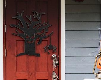 Happy Halloween Spooky Tree Decorations Door Hanger Wood Sign, Entry Way Decor Trick or Treat