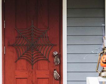 Happy Halloween Spider Web Decorations Door Hanger Wood Sign, Entry Way Decor Trick or Treat