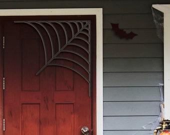 Happy Halloween Corner Web Decorations Door Hanger Wood Sign, Entry Way Decor Trick or Treat