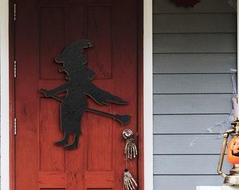 Happy Halloween Flying Witch Broom Decorations Door Hanger Wood Sign, Entry Way Decor Trick or Treat