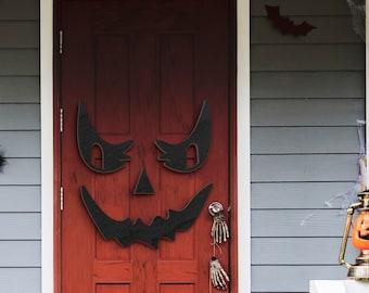 Happy Halloween Spooky Decorations Door Hanger Wood Sign, Entry Way Decor Trick or Treat