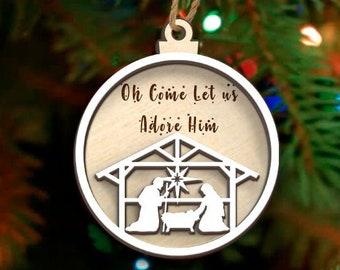 3D Nativity Scene Ornament, Come Let Us Adore Him Wood Christmas Tree Decoration 2021