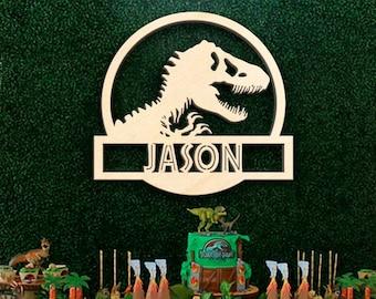 Dinosaur Name Sign, Jurassic World Font Wood Wall or Door Hanger T Rex Laser Cut Kids Room