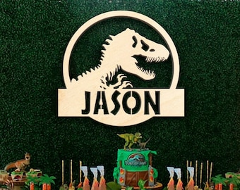 Dinosaur Name Sign, Jurassic World Wood Wall or Door Hanger T Rex Laser Cut Kids Room