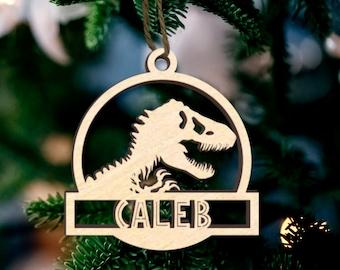 Personalized Jurassic Park Style Name Tree Ornament, Dinosaur Name T Rex Kids Christmas