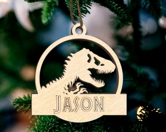 Personalized Jurassic Park Style Name Tree Ornament, T Rex Kids Christmas