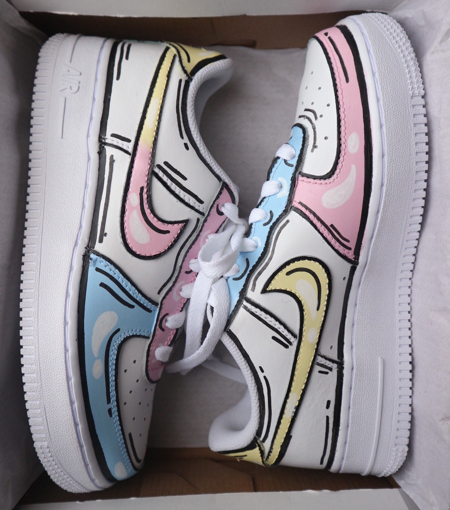 """Nike Air Force 1 X Pastel Cartoon """"Pink Yellow Blue"""" - (Available as an Air Jordan 1), Custom Sneakers. Personalise to your own colours"""