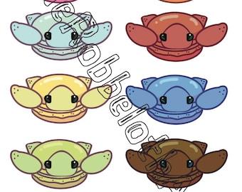 Macaron Turtle Sticker Packs