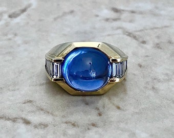 Vintage 11.50 CTS Untreated Sapphire & Diamond Ring - 18K Yellow Gold And Platinum Cocktail Ring - Engagement Ring - Natural Sapphire