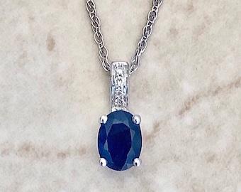 "Oval Blue Sapphire & Diamond Pendant Necklace - 14K White Gold - September Birthstone - Genuine Gemstone - 18"" Chain - Birthday Gift"