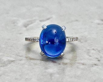 Vintage 7.69 CTS Untreated Sapphire & Diamond Ring By Carvin French Jewelers - 18K Yellow And White Gold - Cocktail Ring - Engagement Ring