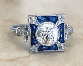 Very Fine Handcrafted Platinum Art Deco Style Diamond & Sapphire Engagement Ring - Cocktail Ring - Promise Ring - Maltese Cross Ring