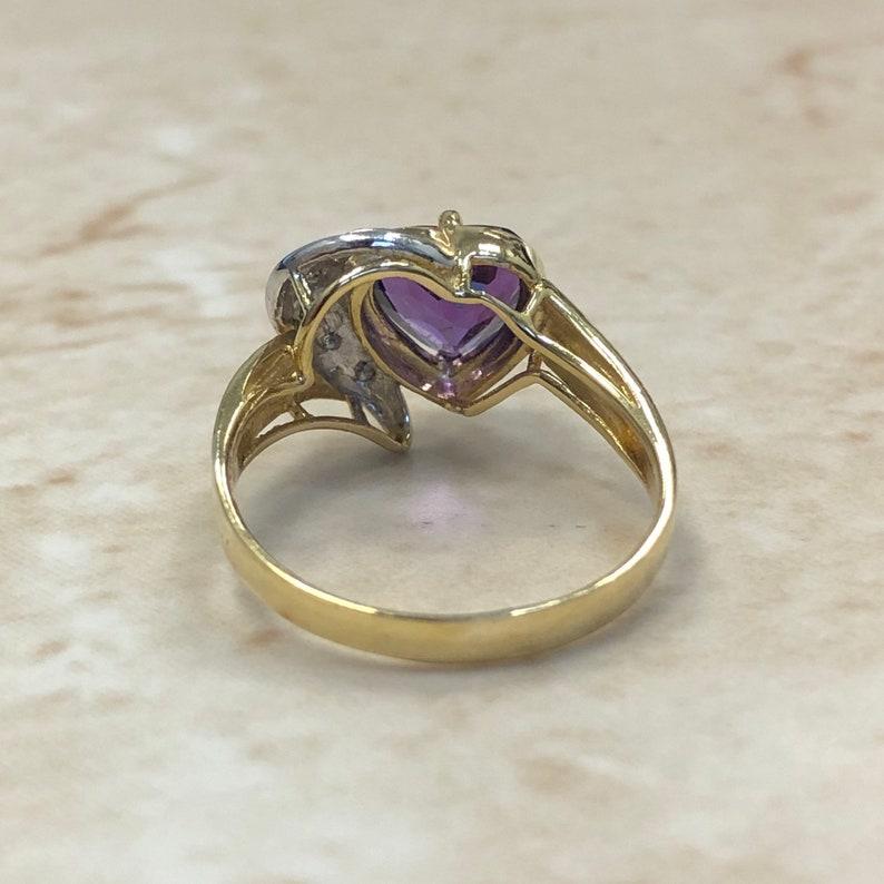 Valentine\u2019s Day Jewelry February Birthstone Love Ring 14 Karat Amethyst /& Diamond Heart Ring - Yellow Gold