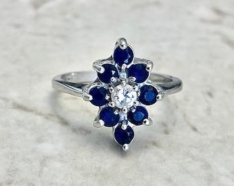 Fine Sapphire & Diamond Navette Ring - 14 Karat White Gold - Cocktail Ring - Sapphire Ring - April September Birthstone - Anniversary Ring