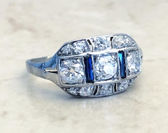 1.00 CTTW Art Deco Platinum Diamond & Synthetic Sapphire Ring - Antique Vintage Cocktail Ring - Proposal Ring - Size 6 - Birthday Gift
