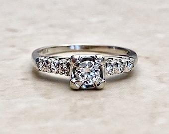 Vintage Diamond Engagement Ring - Circa 1940 - 14K White Gold - Vintage Solitaire - Wedding Ring - Bridal Jewelry