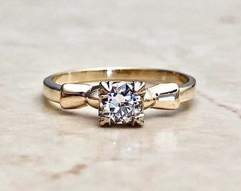 Vintage Retro Diamond Solitaire Engagement Ring - Circa 1940 -  14K Yellow Gold - Vintage Diamond Solitaire - Wedding Ring - Bridal Jewelry