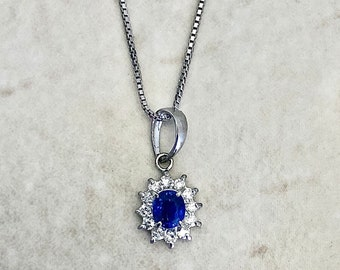 Fine Platinum Sapphire Diamond Halo Pendant Necklace - Sapphire Necklace - Birthday Gift - April September Birthstone Gift For Her