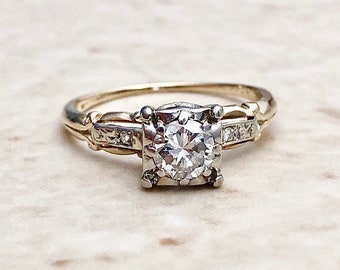 Vintage Retro Diamond Engagement Ring 0.57 CT - Circa 1940 -  14K Two Tone Gold - Vintage Solitaire - Wedding Ring - Bridal Jewelry