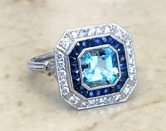Very Fine Handcrafted Platinum Art Deco Style Aquamarine, Sapphire & Diamond Halo Ring - Cocktail Ring - Engagement Ring - Promise Ring