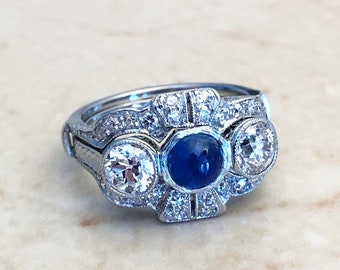 Rare Art Deco Platinum Sapphire & Diamond Ring - Antique Vintage Engagement Ring - Promise Ring - Size 4.5 US - Birthday Gift