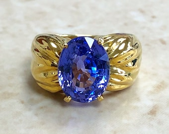 Very Fine Vintage 18K Untreated Sapphire Ring By Carvin French Jewelers - Yellow Gold Cocktail Ring - Engagement Ring - Size 5.5