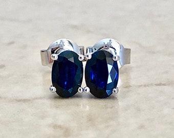 Oval Blue Sapphire Stud Earrings - 14K White Gold - September Birthstone - Genuine Gemstone - Push Backs - Birthday Gift