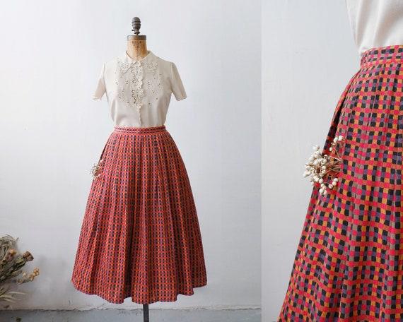 1950s Vintage Gingham Plaid Full Skirt // circle s