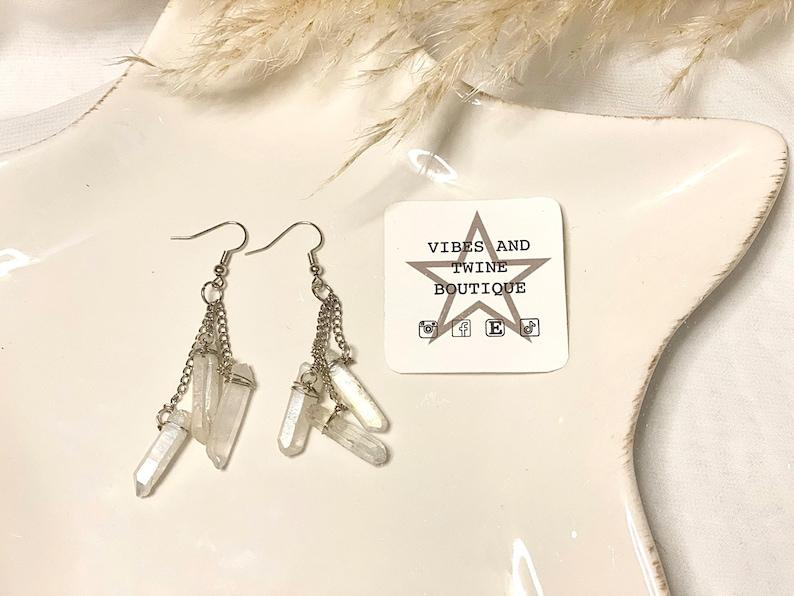 wrapped quartz chandelier earrings