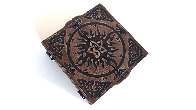 Boîte magique 3mm, 1/8 pouce, 4mm, avec ornement. Fichiers découpés au laser SVG, DXF, CDR Produit numérique