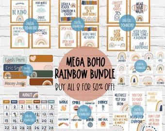 NEW! MEGA BUNDLE: Boho Rainbow Classroom   Safety, Library, Growth Mindset, Kindness Signs + Nametag + Birthday Chart + Calendar + Greetings