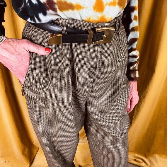Zip Detail Plaid Skinny Vintage Trousers