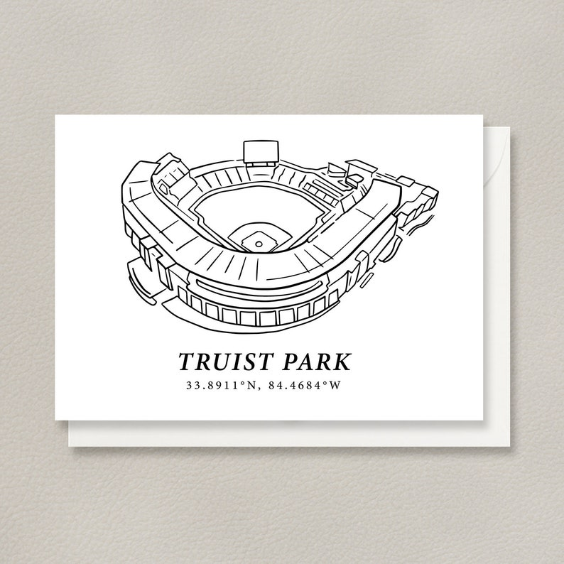 Atlanta 5x7 Flat Card Design Featuring Truist Park Stadium Gifts for Atlanta Tourists Midtown ATL Destination Gifts for Atlanta Locals