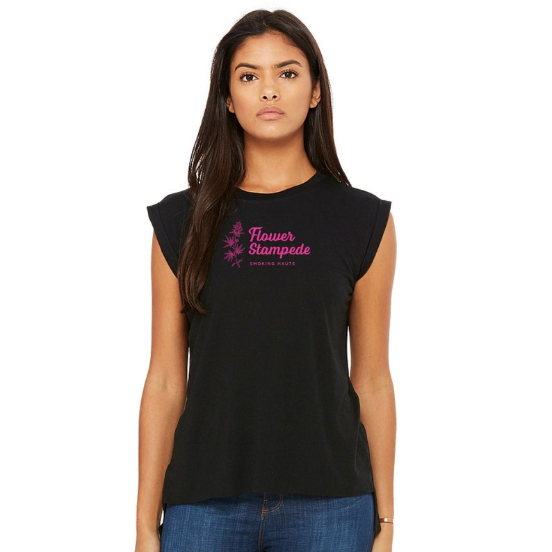 Flowy Muscle T-Shirt  Black With Pink Silk Screened Weed Logo image 0