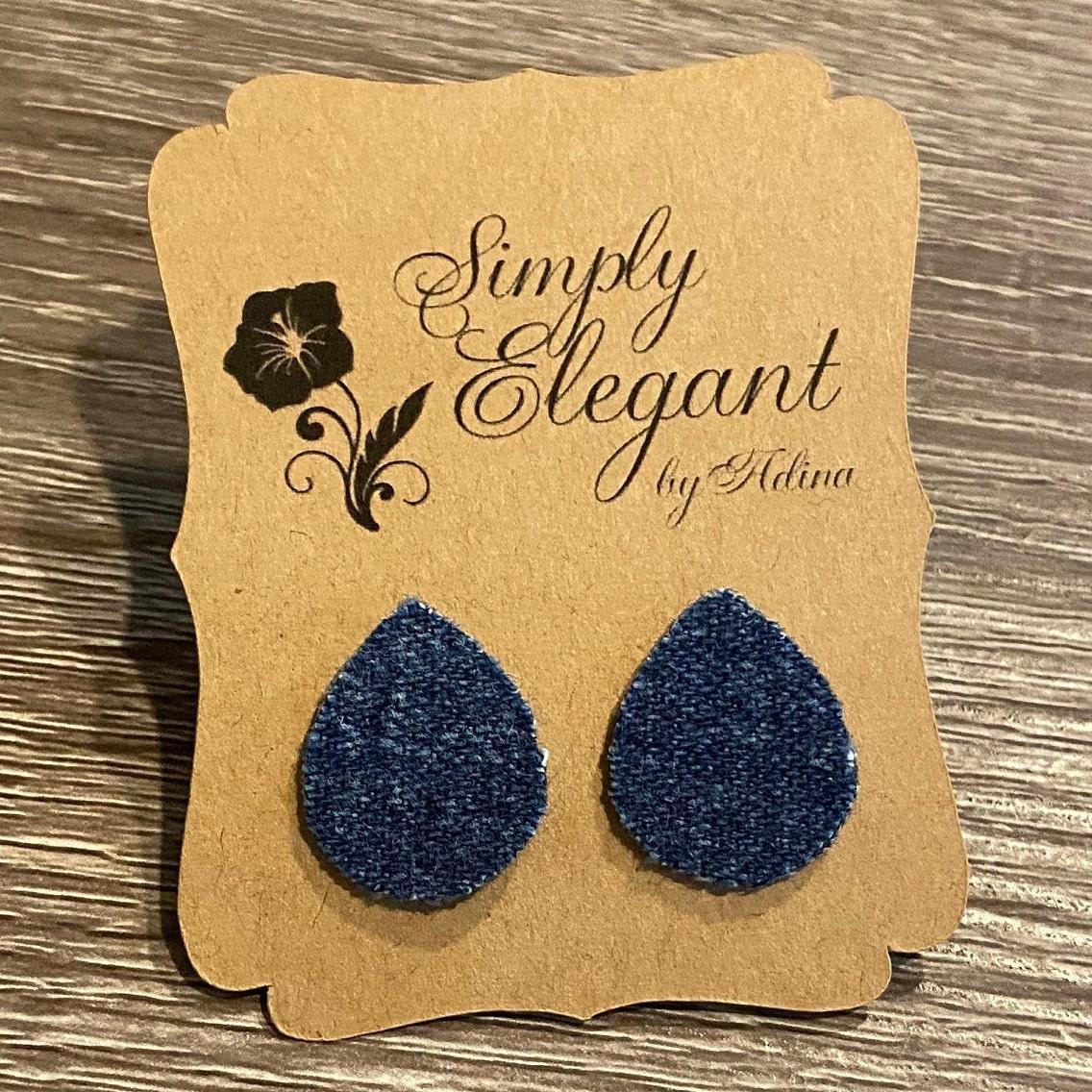Denim Stud Earrings Stud Earrings Teardrop Shaped Blue Denim Earrings