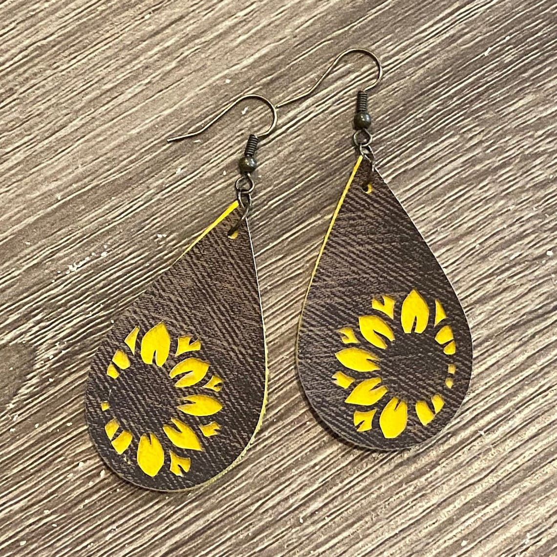 Faux Leather Earrings Sunflower Earrings Yellow and Brown ...