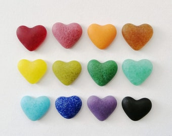 2 Coloured Heart Glass Pebbles encasing ashes made individually to order