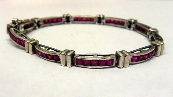 Vintage 925 Sterling Silver & Ruby Link Bracelet -